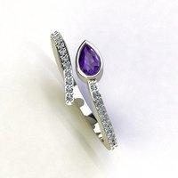 3D model split diamond ring snake