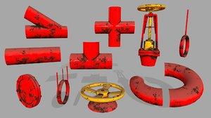 clamp pipe set 3D model