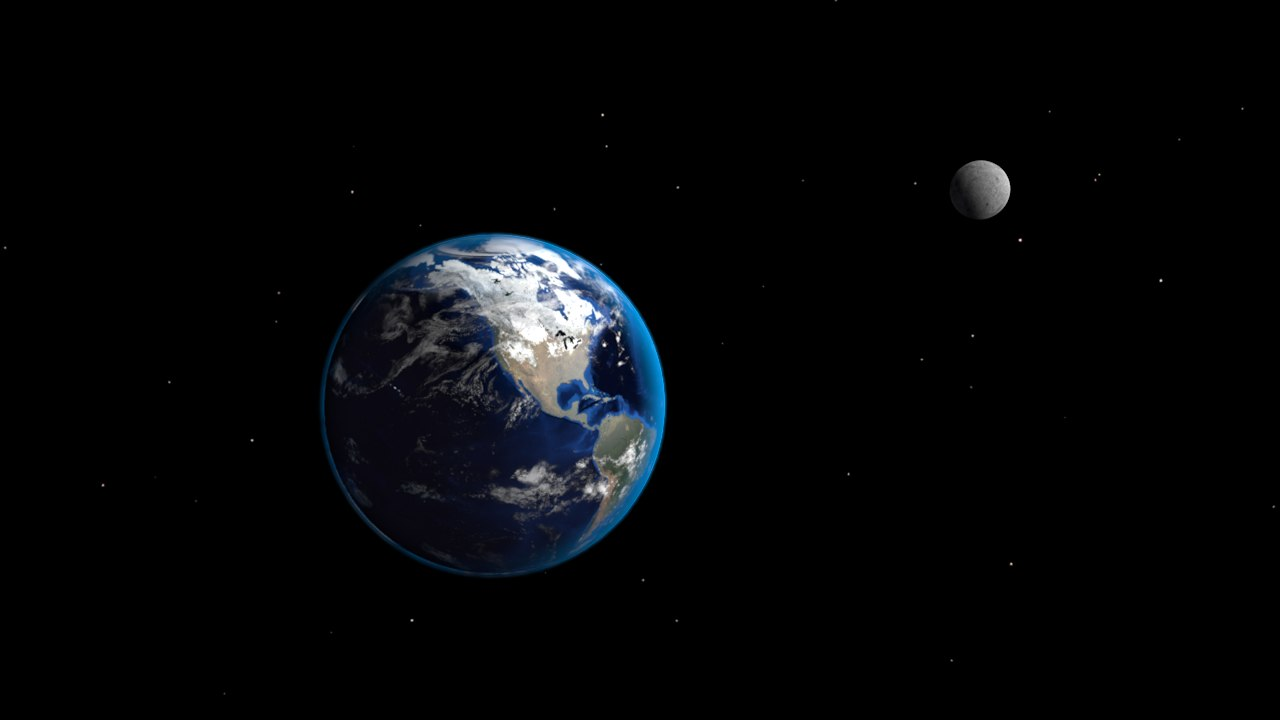 3D earth moon