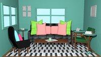 Living Room 3D Model | Interior Room | Cartoonic Interior Design