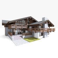 3D house villa chalet model