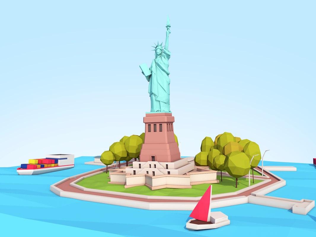 3D statue liberty scene