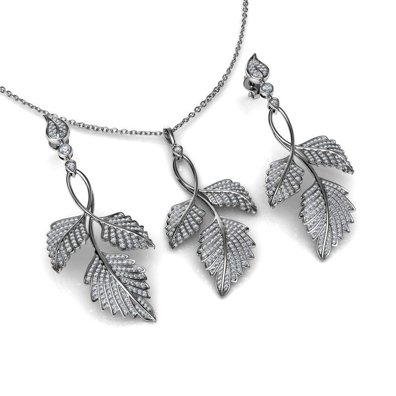 3D model leaves pendant earrings set