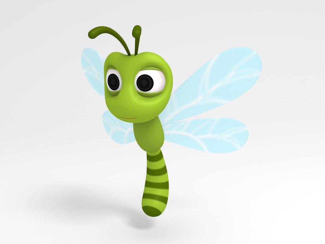 dragonfly character cartoon 3D model