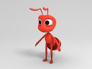 3D ant character cartoon model