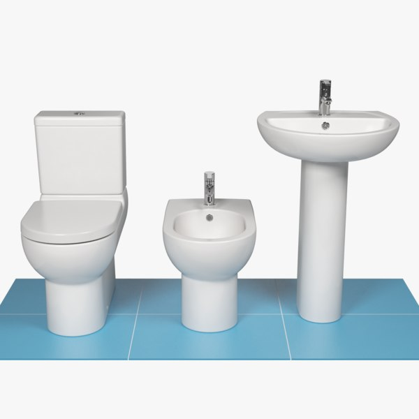 3D modern luxury bathroom suite