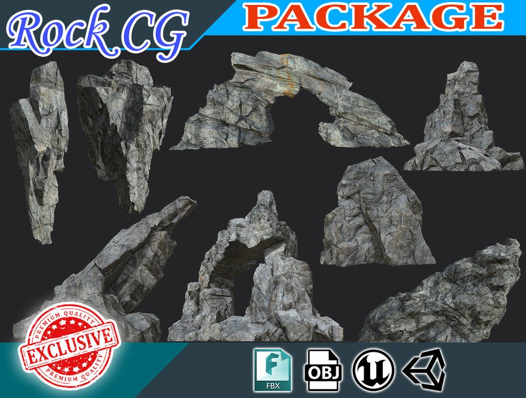 rock polys landscape stones 3D model