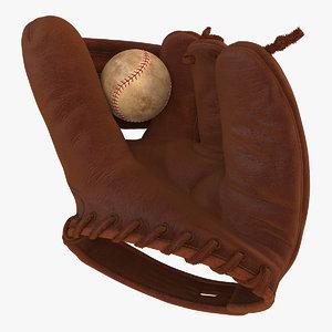 vintage baseball glove ball 3D