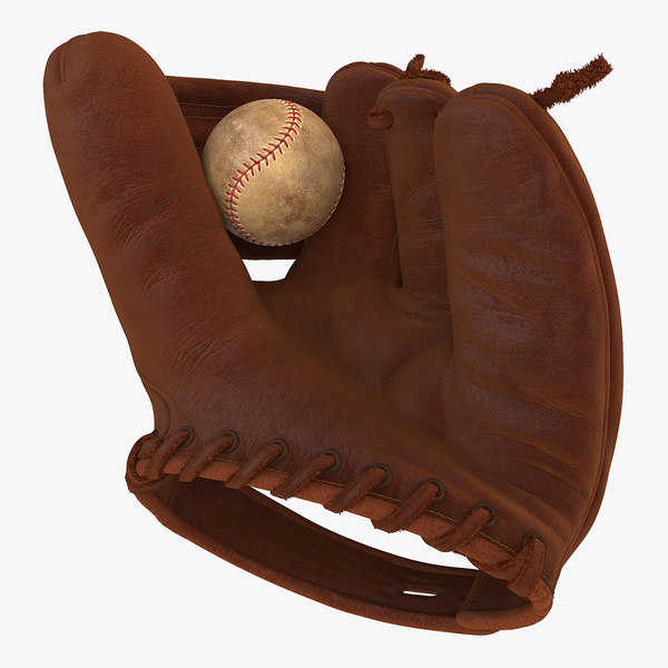 vintage baseball glove ball 3D