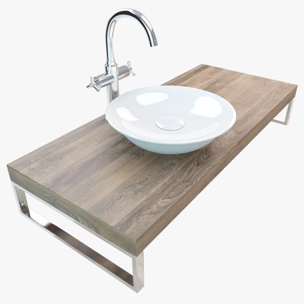 3D model bathroom washbasin plate