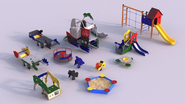 3D modern children playground