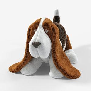 stuffed toy basset hound 3D model
