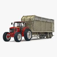 3D tractor harvester trailer
