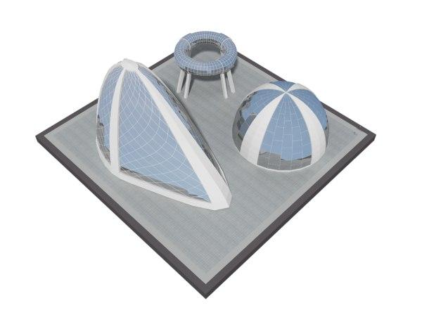 3D modern future building 3