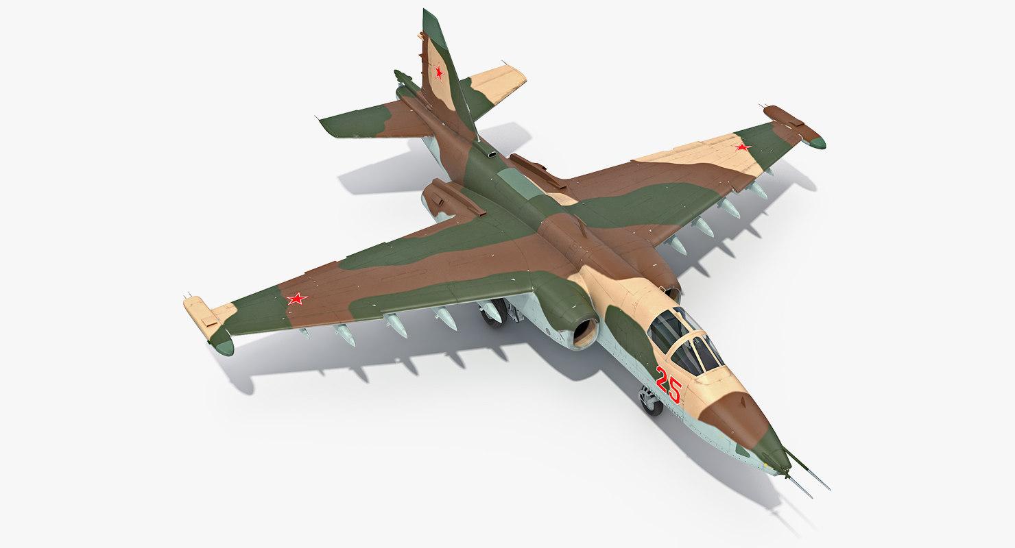 3D attack plane su-25 frogfoot