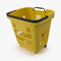 Roll Shopping Basket Folded Handle 3D Model