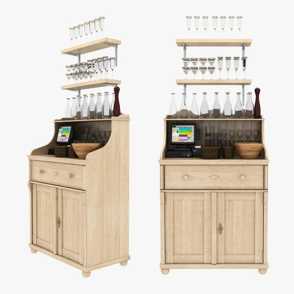 3D model waiter station cabinet