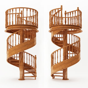 wooden stair 3D model