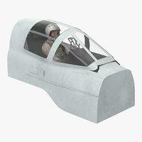 Jet Fighter Pilot in Cockpit 3D Model