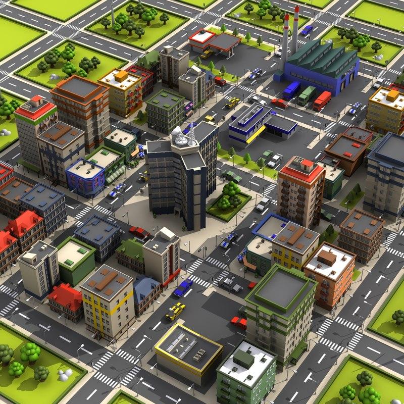 cartoon city 2 3D model