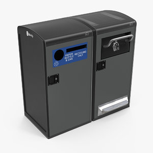 3D bigbelly separate garbage bins model
