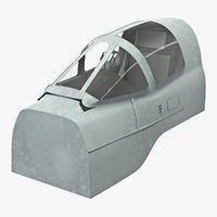 3D model attack plane cockpit