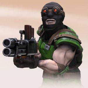 3D animation machine gun model
