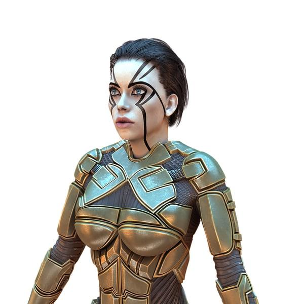 3D cyborg female hd