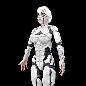 3D cyborg female hd model