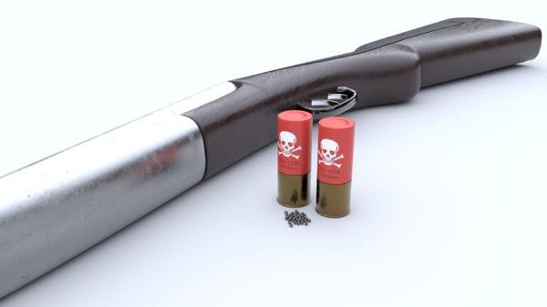 3D double barrel shotgun photorealistic model