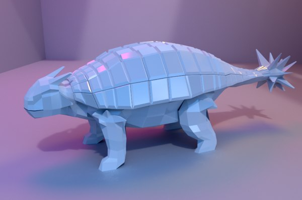 low-poly ankylosaurus animations model