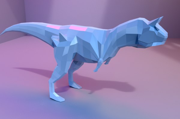 3D low-poly carnotaurus animations