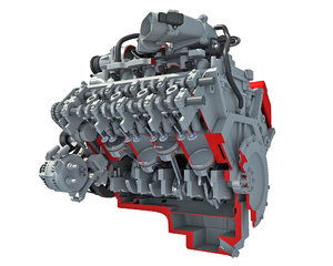 cutaway v8 engine animation 3D model