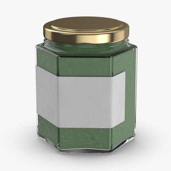 3D natural-pigment-in-glass-jars---green model