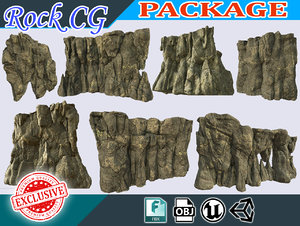 3D polys pack landscape stones