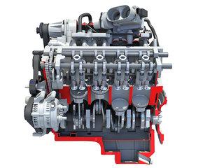 3D cutaway v8 engine