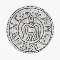 3D viking silver penny