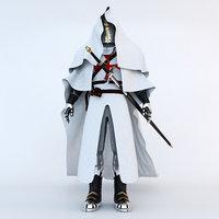 3D templar crusader knight model