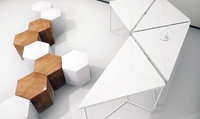 3D modular table shelf chair office model