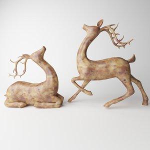 3D model deer statue