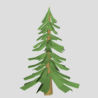 Low poy pine tree V1 3d model for cartoon or game