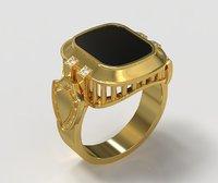 3D men signet ring shield model