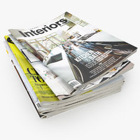 3D model realistic magazines open set