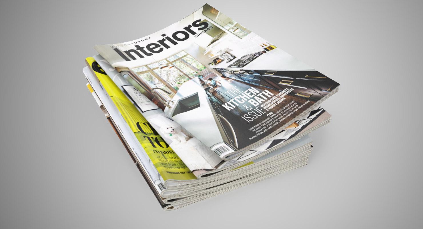 3D model realistic magazines open set