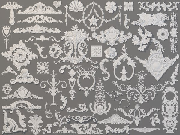 59 piece carved elements 3D model