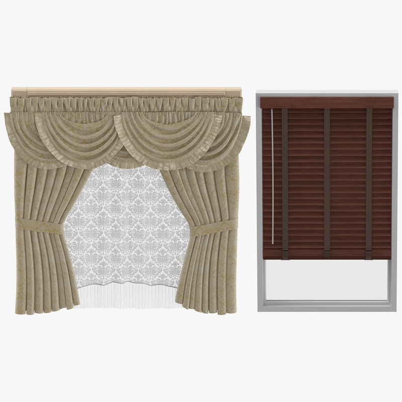 classical blinds curtains 3D model