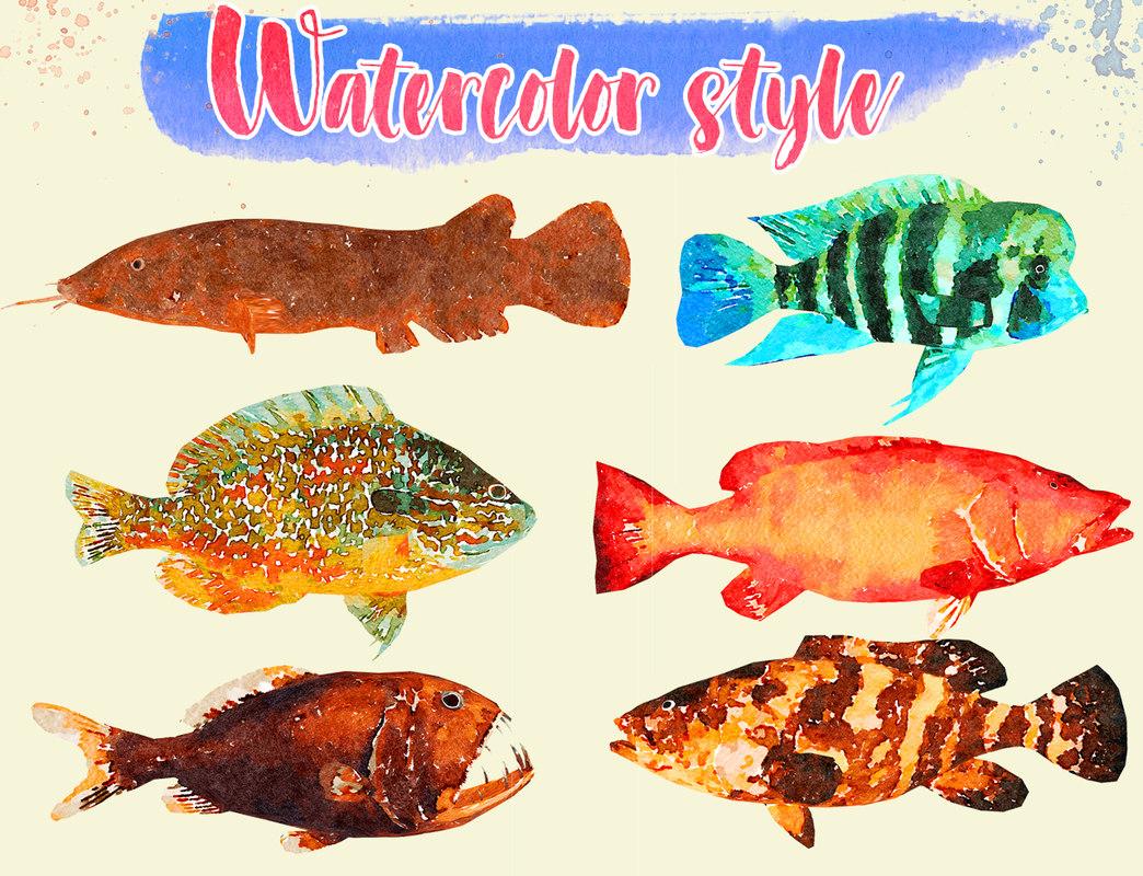 fish illustration 3D model