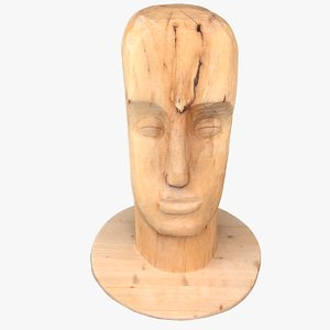 wood carved statue 3D model