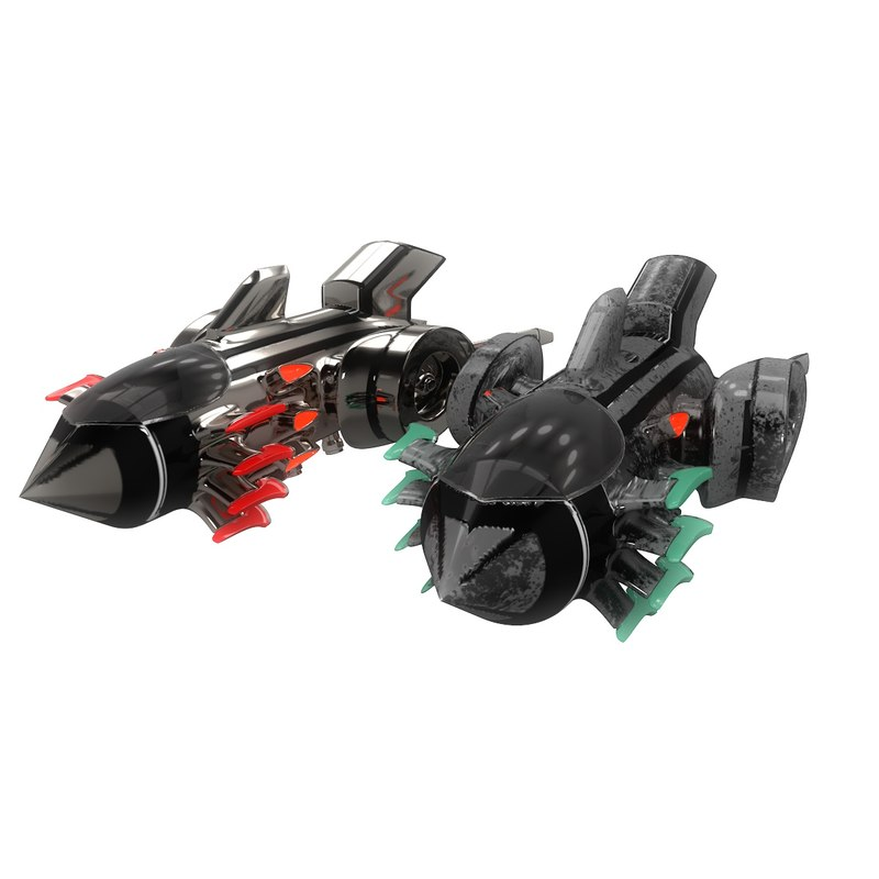 3D sci-fi space fighter aircraft