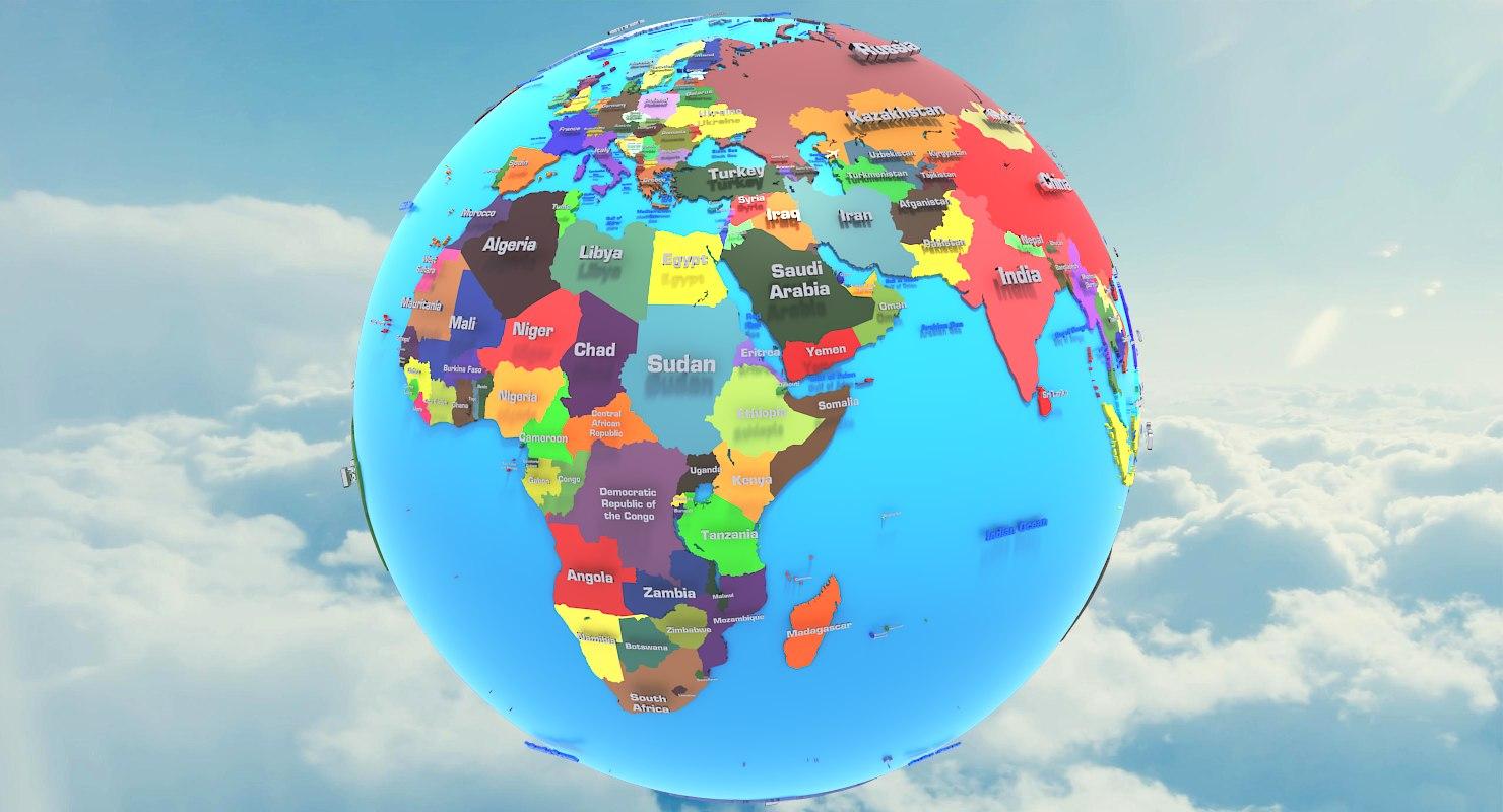 3D geopolitical earth globe states